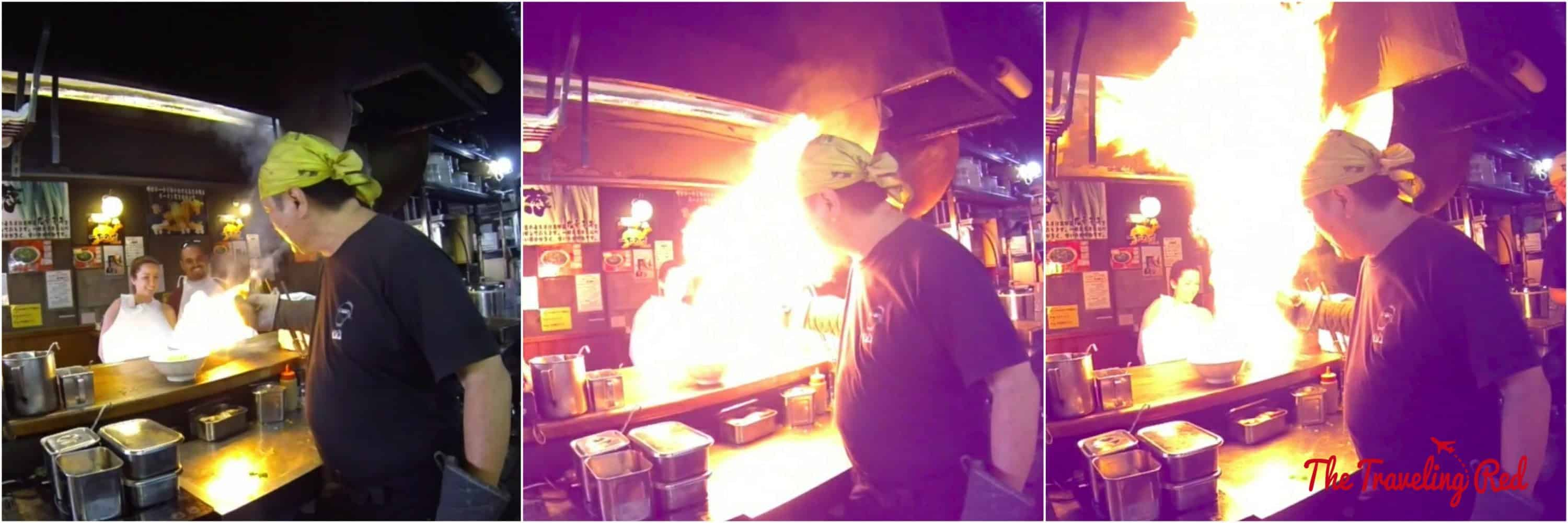 Japan is known for Ramen, in Kyoto check out Menbakaichidai for their famous fire ramen. They literally set your bowl of ramen on fire.
