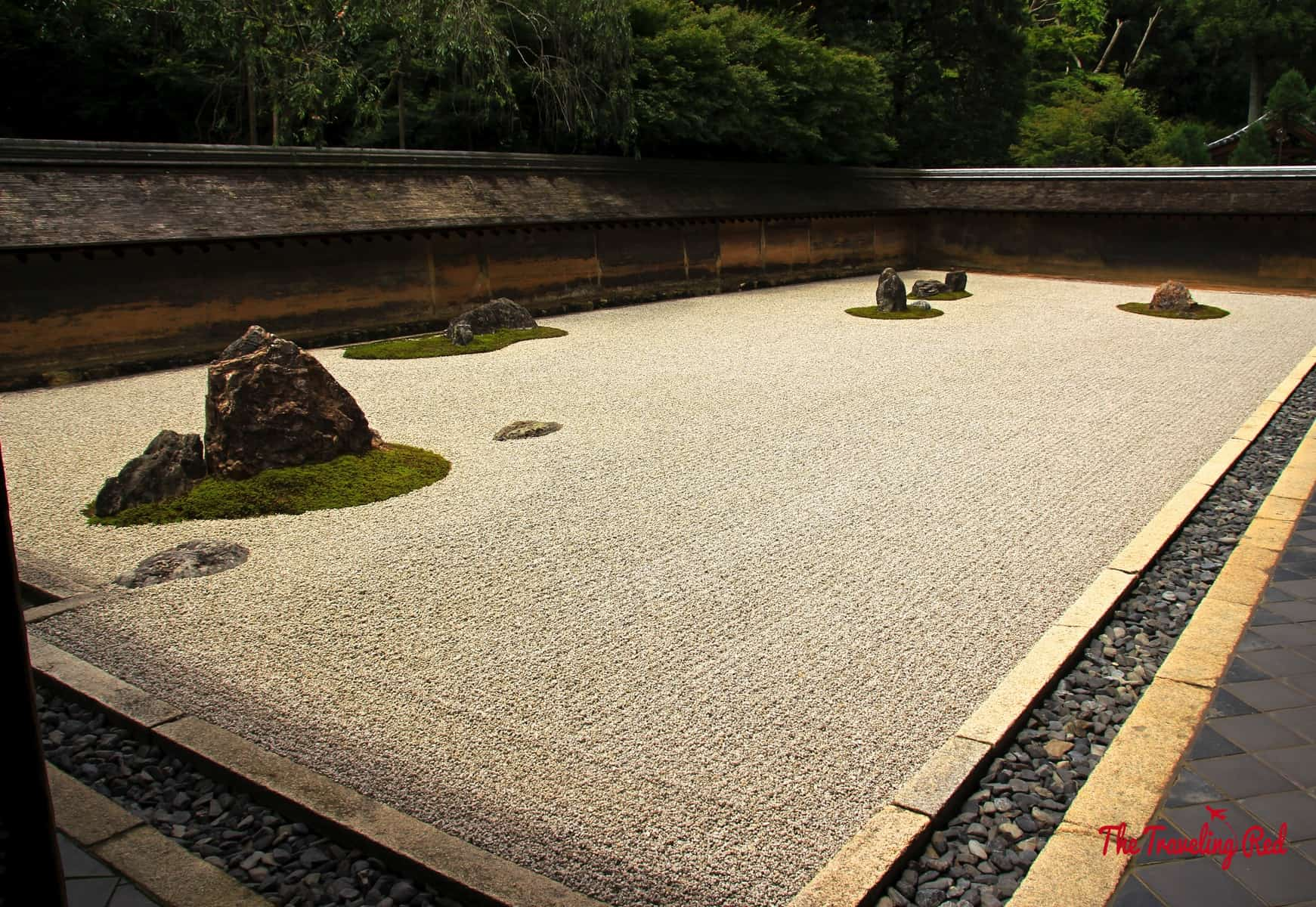 Near the Golden Temple in Kyoto, Japan is the Ryoan-ji Temple, known for the Zen Rock Garden