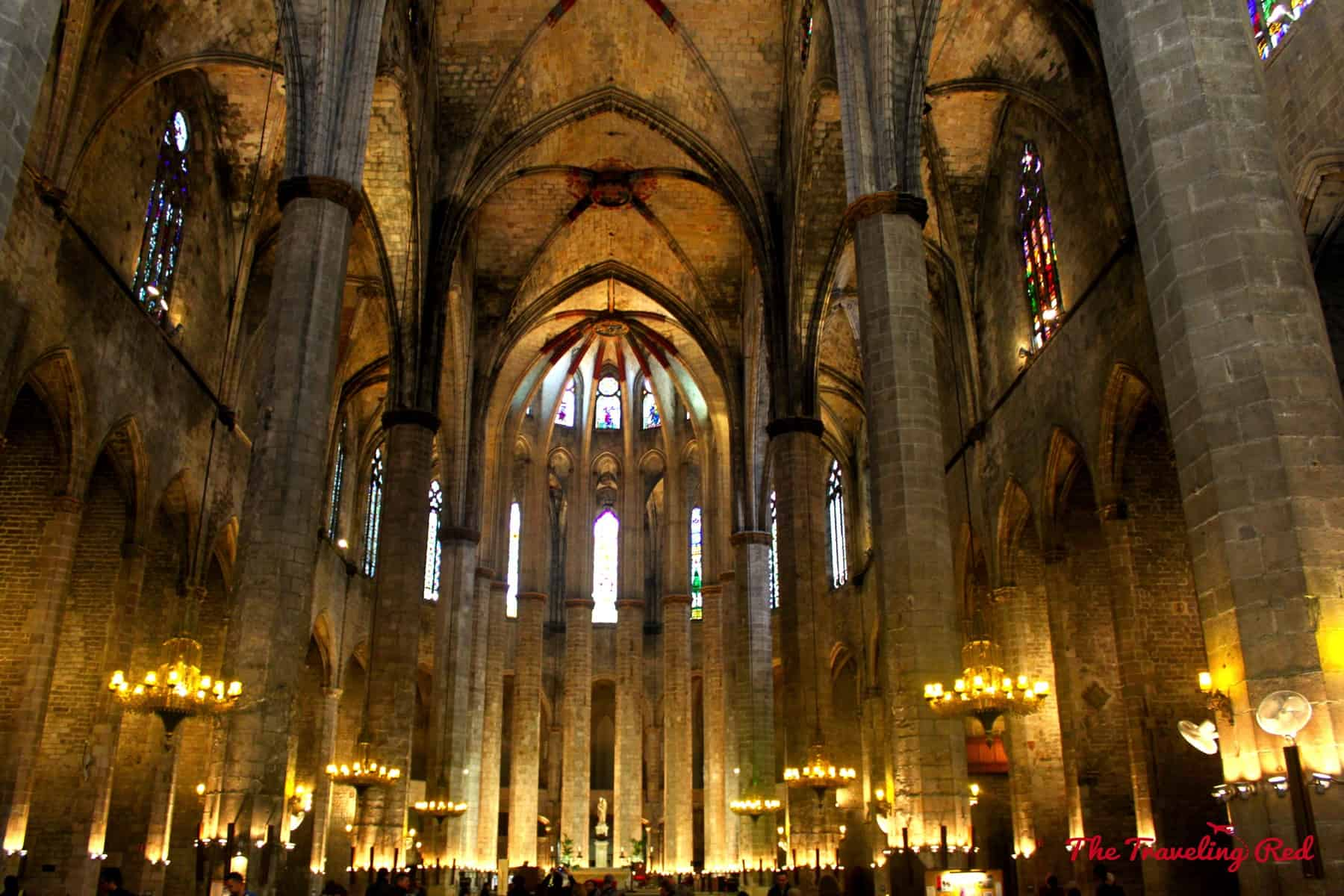 Inside Basilica de Santa Maria del Mar in Barcelona, Spain.
