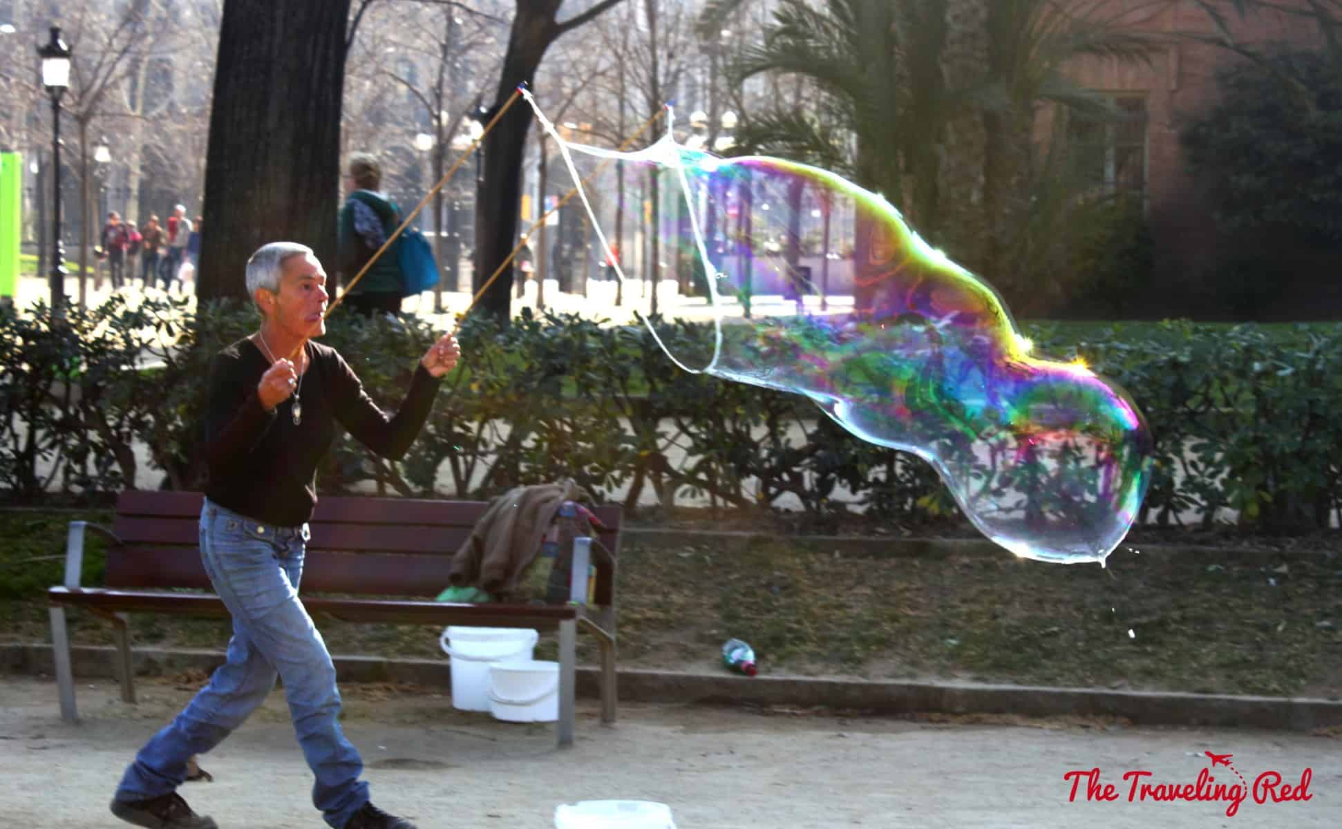 Giant bubbles in Parc Ciutadella in Barcelona, Spain