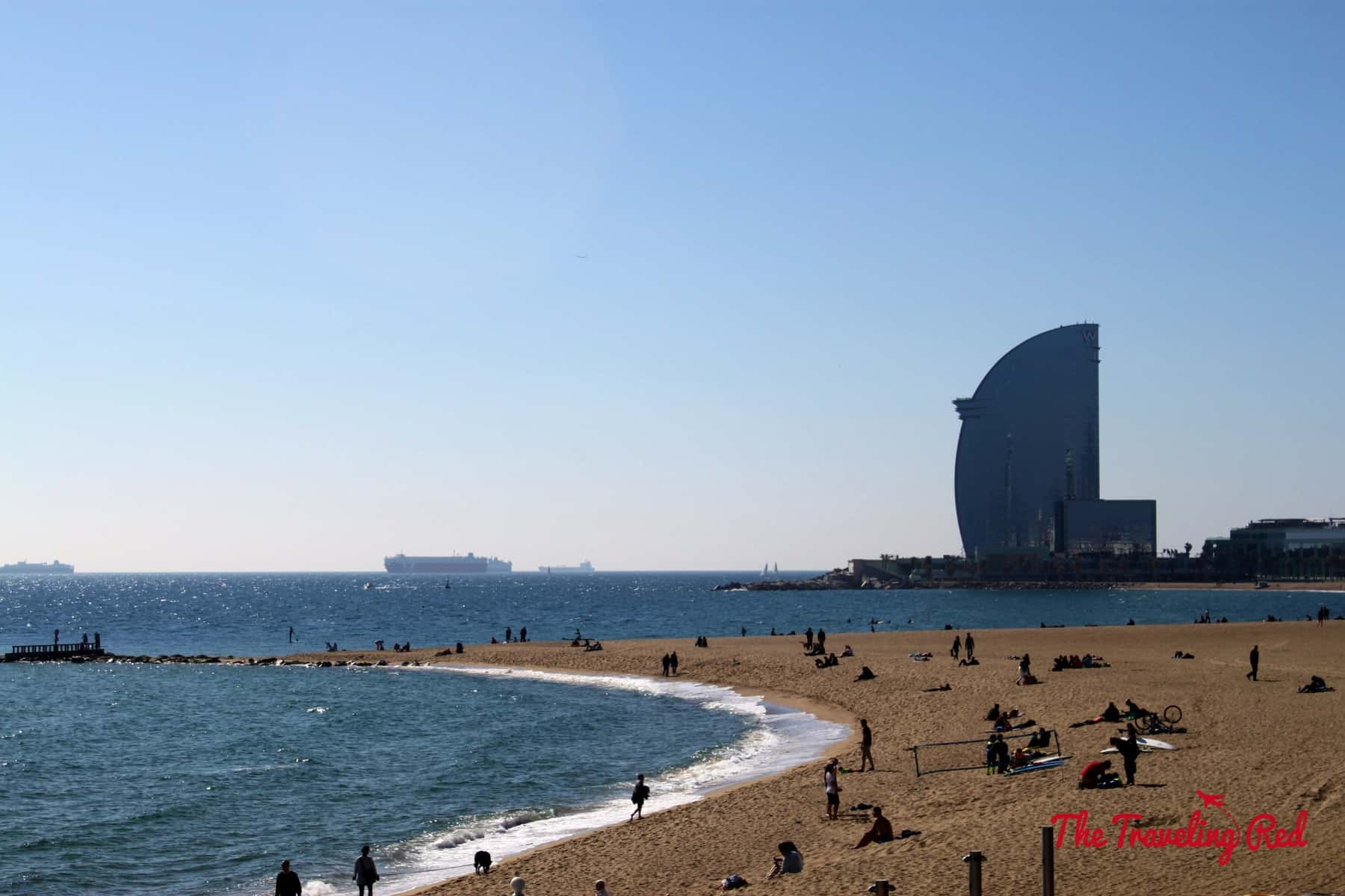 Exploring Barceloneta. Barceloneta is the beach part of Barcelona, Spain.  It has a long boardwalk and plenty of restaurants. The W Hotel sits  at the edge.