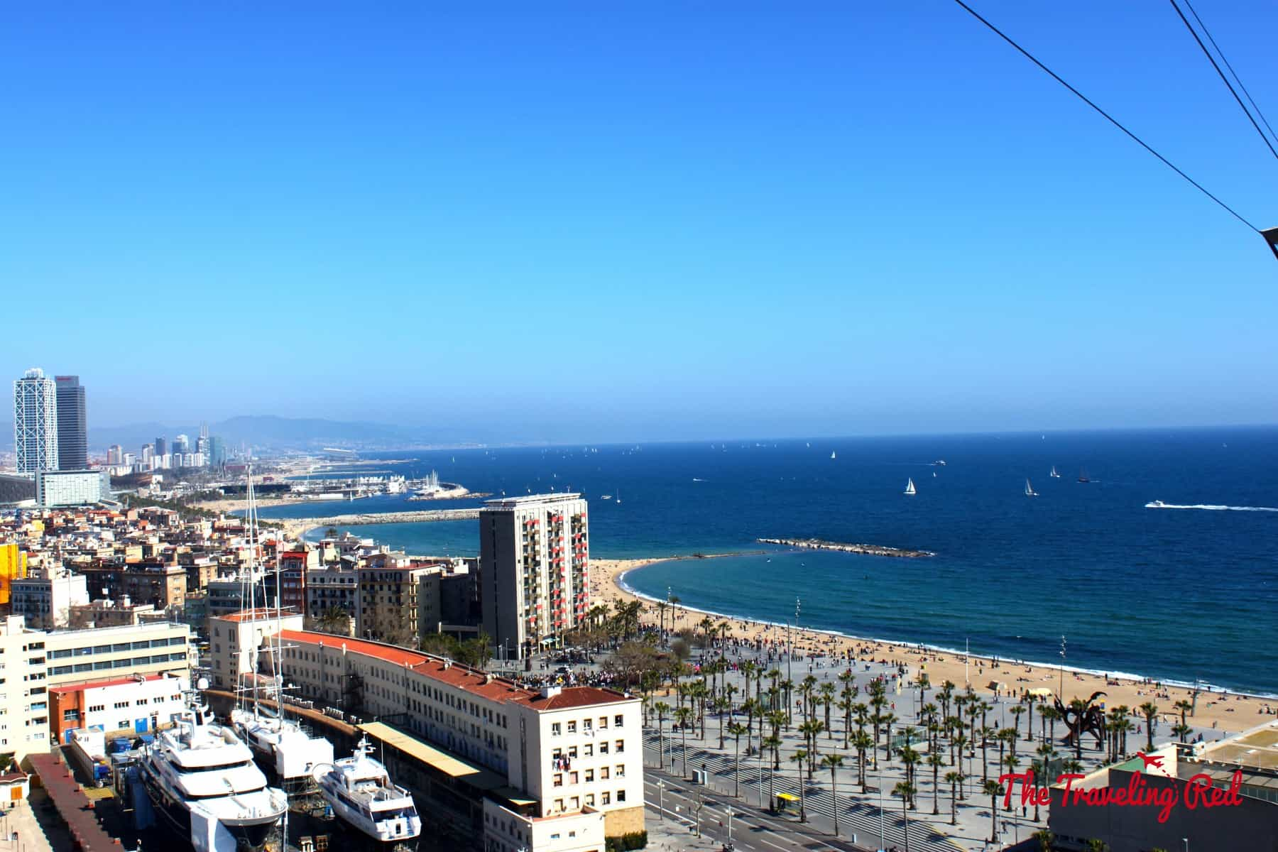 At the end of the boardwalk in Barceloneta is the Teleferic, a cable car that takes you up to Montjuic. The Teleferic has 360 degree views overlooking Barcelona, the beach and the marina full of mega-yachts.