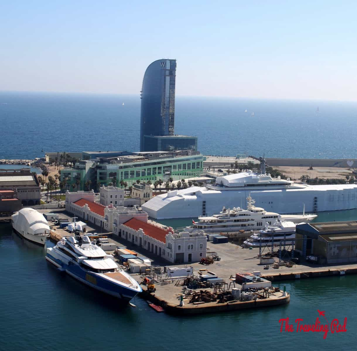 At the end of the boardwalk in Barceloneta is the Teleferic, a cable car that takes you up to Montjuic. The Teleferichas 360 degree viewsoverlookingBarcelona, the beach and the marina full of mega-yachts.