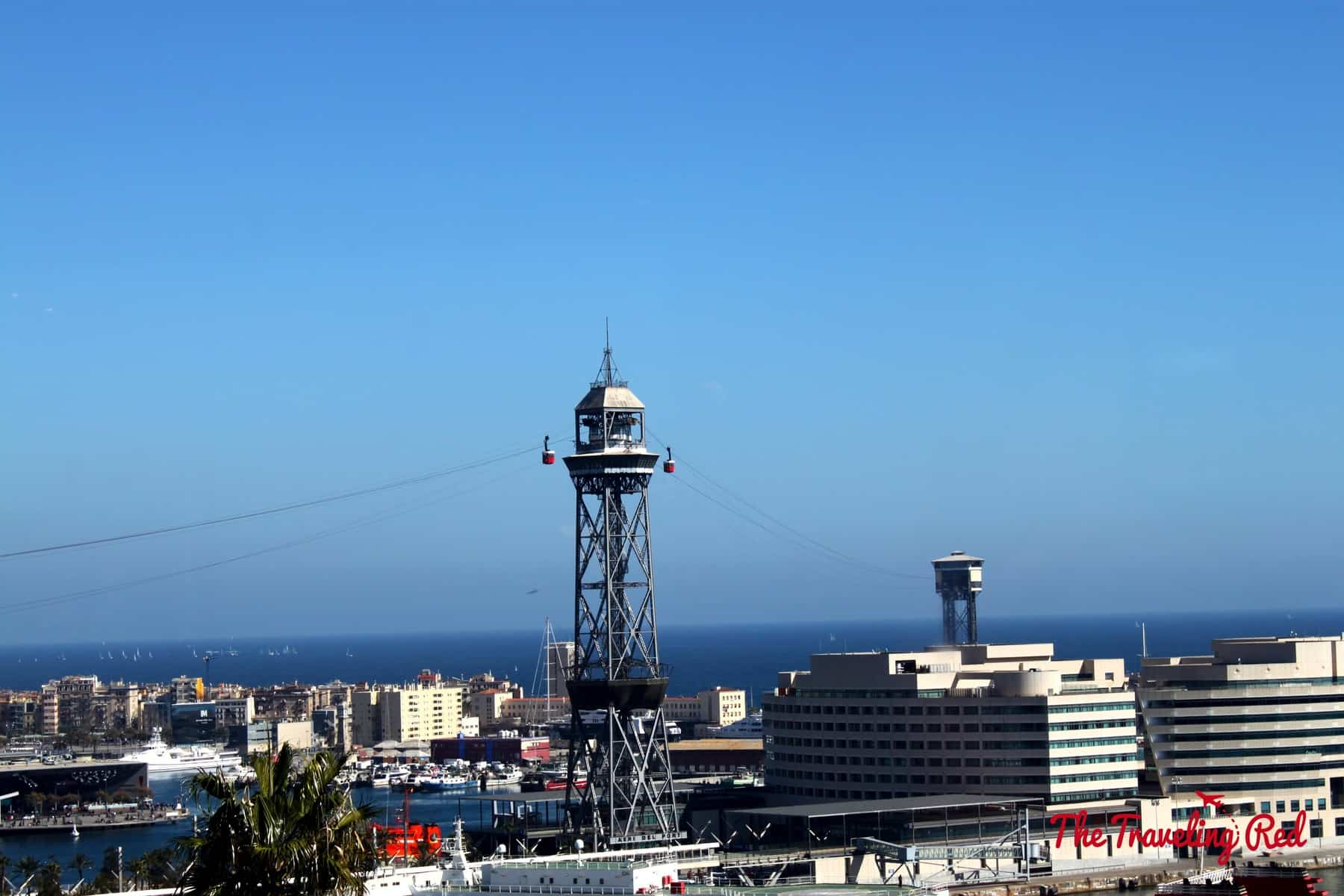 View of the Teleferic,a cable car that takes you up to Montjuic, from Restaurante Martinez in Barcelona, Spain.