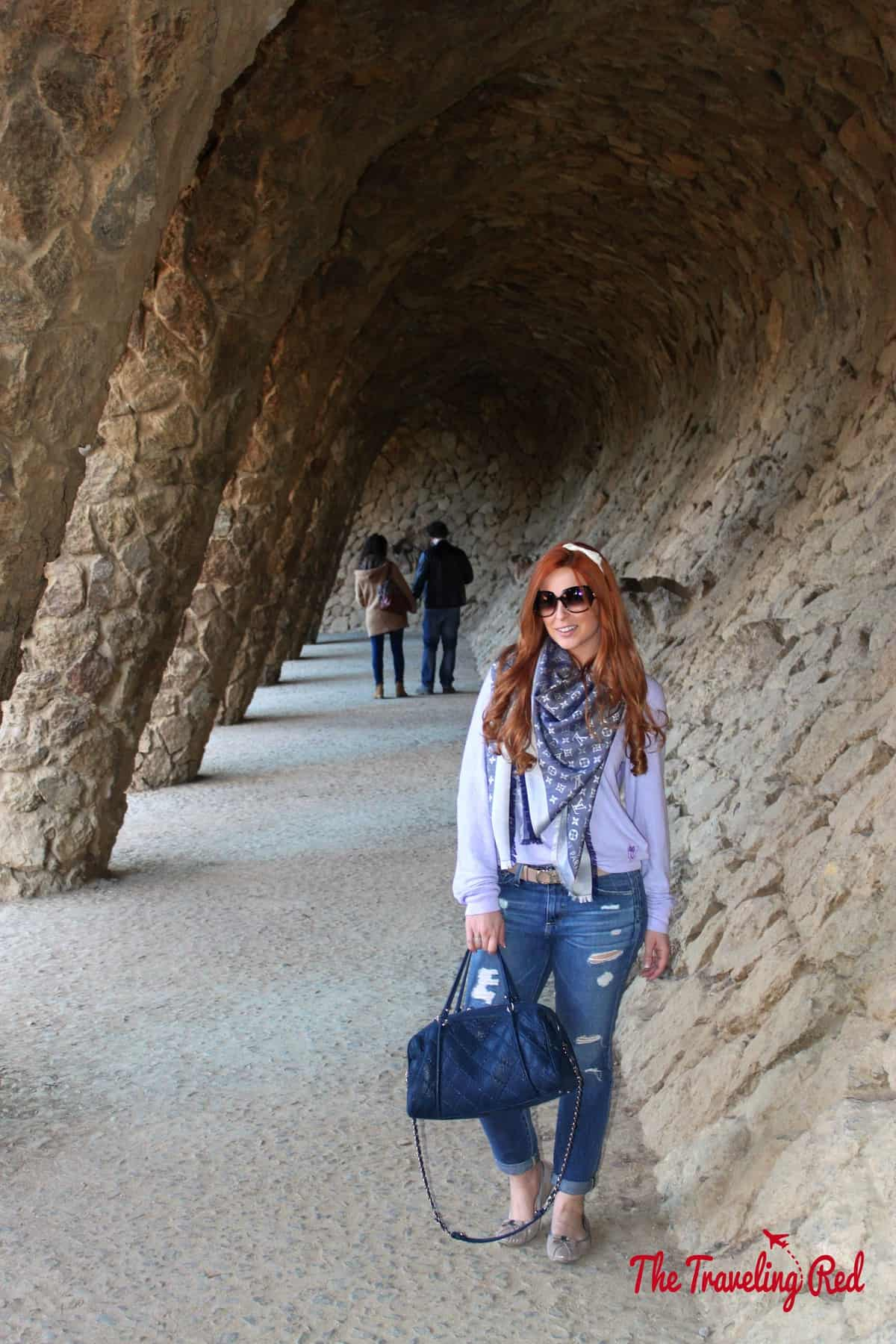 TheColonnaded Footpath in Parc Güell, the most famous park in Barcelona, Spain.