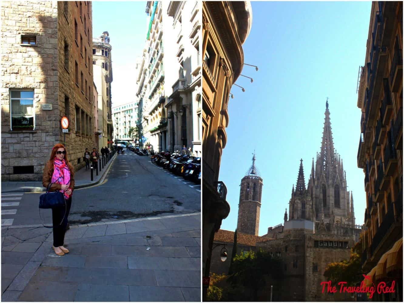 Roaming the streets near the Catedral de Barcelona in Barcelona, Spain.