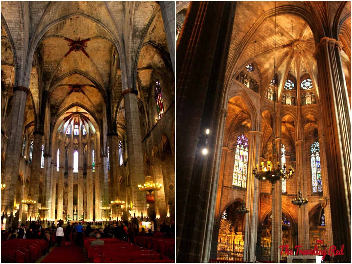 Inside the beautiful Basilica de Santa Maria del Mar in Barcelona, Spain.