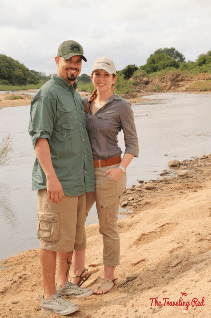 Taking a break in the bush in South Africa during our game drive with Leopard Hills. Sabi Sands Safari experience.