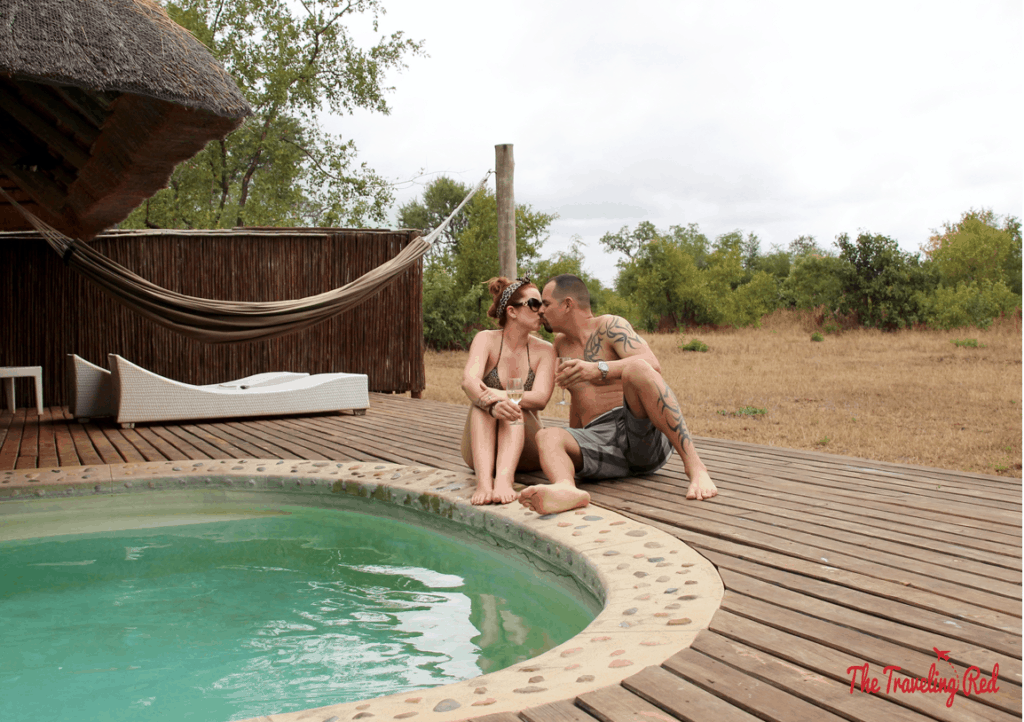 Enjoying an afternoon by our private pool at Leopard Hills in Sabi Sands. This lodge only has 8 units... each is a private cottage with a back deck that includes a private pool, hammock and even an outdoor shower. You can see animals roaming right by your room. Definitely one of the best places to stay for a safari in South Africa.