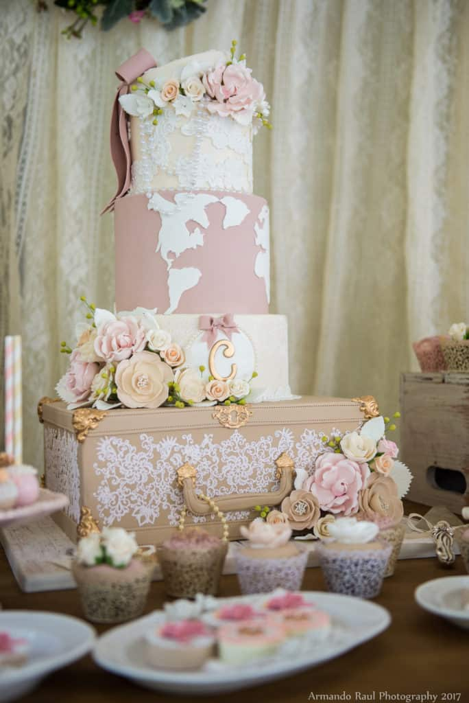 Vintage travel dream cake for my baby shower all in off white, beige and blush pink - We did 4 layers including an antique luggage, lace, flowers, a map and even a flower box with some pearls