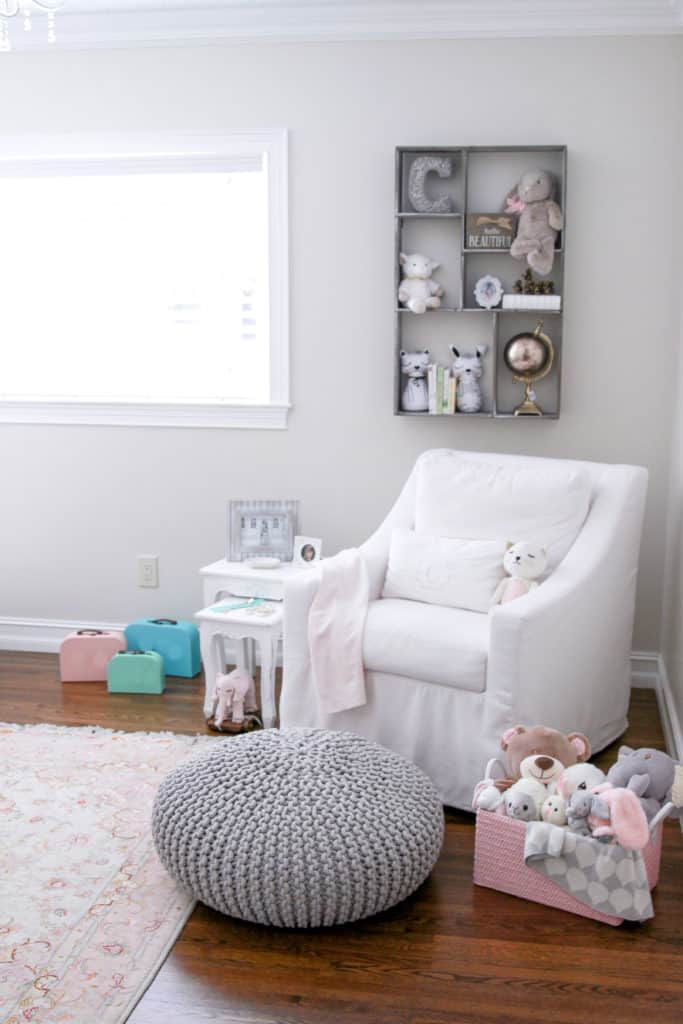 Reading nook and  nursing rocker in our rustic chic pink and white girl nursery