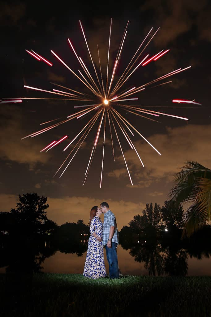 Fireworks over the lake to reveal the gender to our friends and family - blue or pink