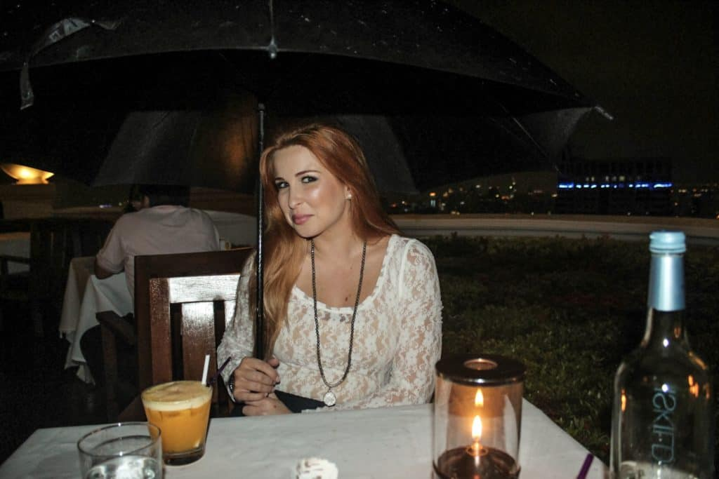 Hiding from the rain during dinner at Sirocco at the Lebua Hotel  | Bangkok | Thailand | Peninsula Hotel | Lebua Hotel | the dome Sky Bar from Hangover 2 | Peninsula Hotel | Temples | Wat Arun | Wat Pho | Grand Palace | Lord Jims at the Mandarin Oriental Bangkok |  Riding in a tuk tuk | Muay Thai at the Rajadamnern Stadium