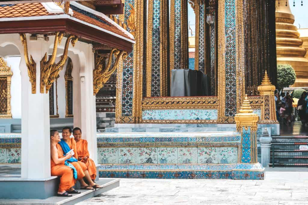 Monks at the Temples in Bangkok | Thailand | Peninsula Hotel | Lebua Hotel | the dome Sky Bar from Hangover 2 | Peninsula Hotel | Temples | Wat Arun | Wat Pho | Grand Palace | Lord Jims at the Mandarin Oriental Bangkok |  Riding in a tuk tuk | Muay Thai at the Rajadamnern Stadium