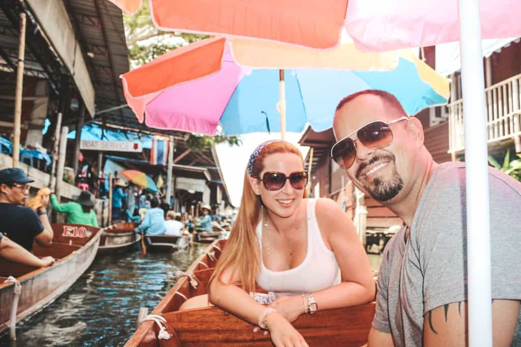On our own boat in the floating market in Thailand... an entire market on the waterway and the vendors are each on their little boats. Tour of the Railway Market and Floating Market from Bangkok, Thailand. #bangkok #thailand #railwaymarket #floatingmarket