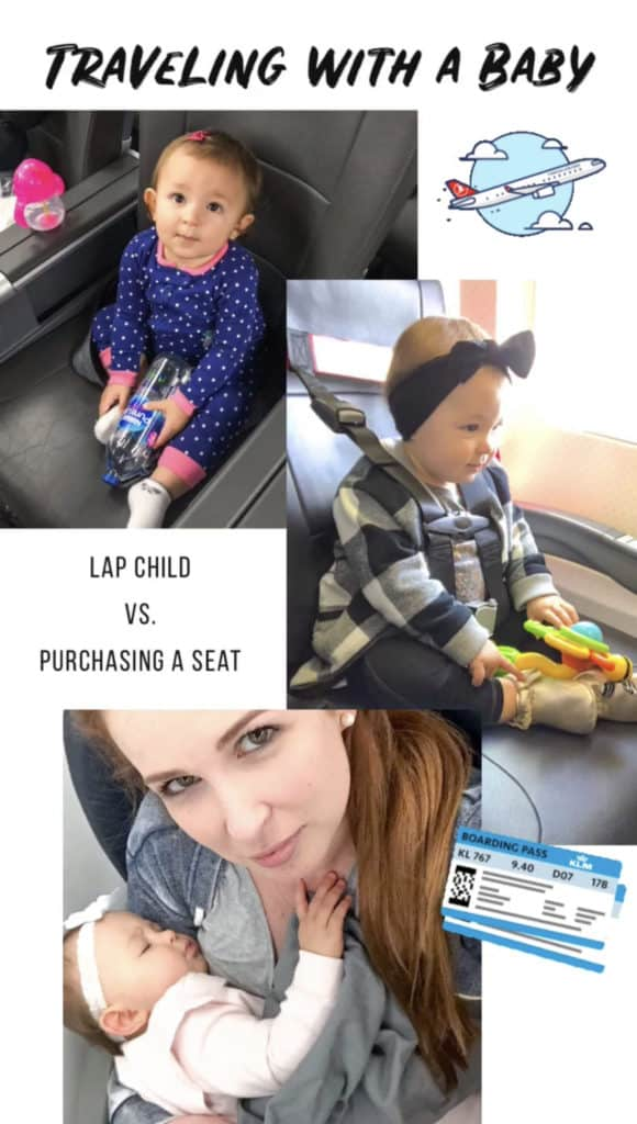 Deciding between purchasing a seat for a baby or carrying them as a lap child. The pros and cons of each. If purchasing a seat, an airplane harness is a great option. Turns a regular airplane seat into a carseat with a full harness. Much easier than carrying a car seat onto the plane and allows for a safe way to travel. #babytravel #travelkids #lapchild