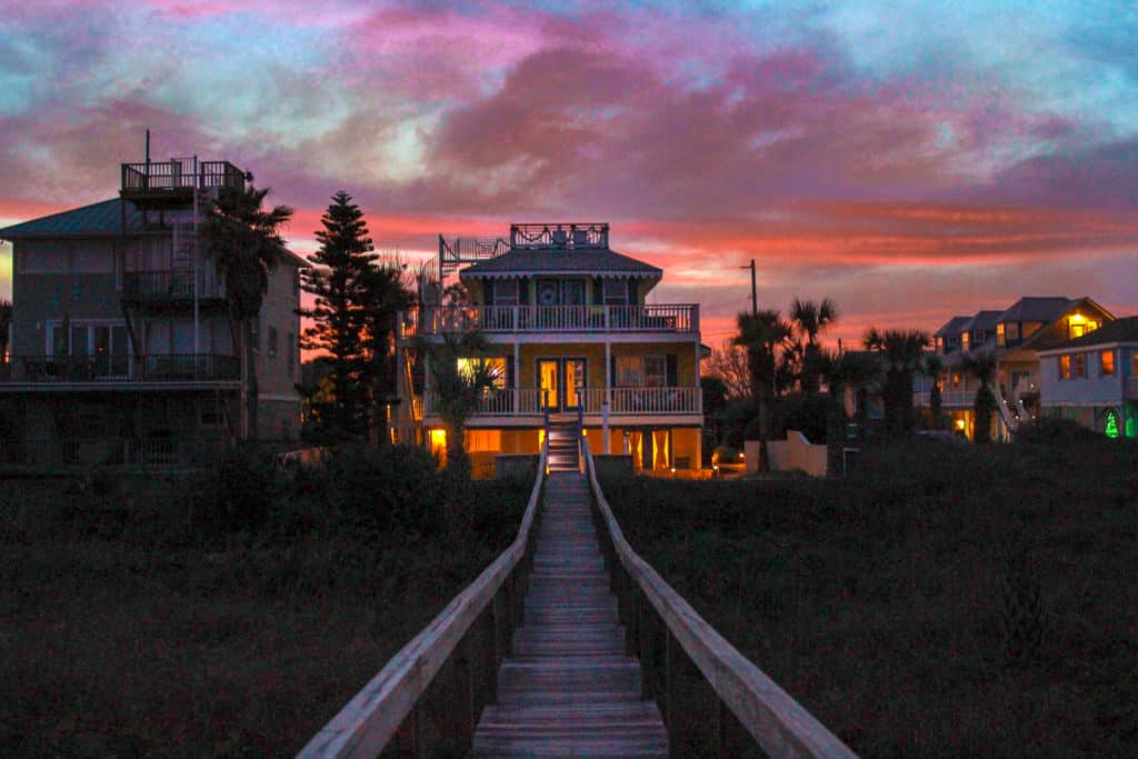 Sunset at the Beachcomber Cottages on Vilano... situated on a private beach near St Augustine