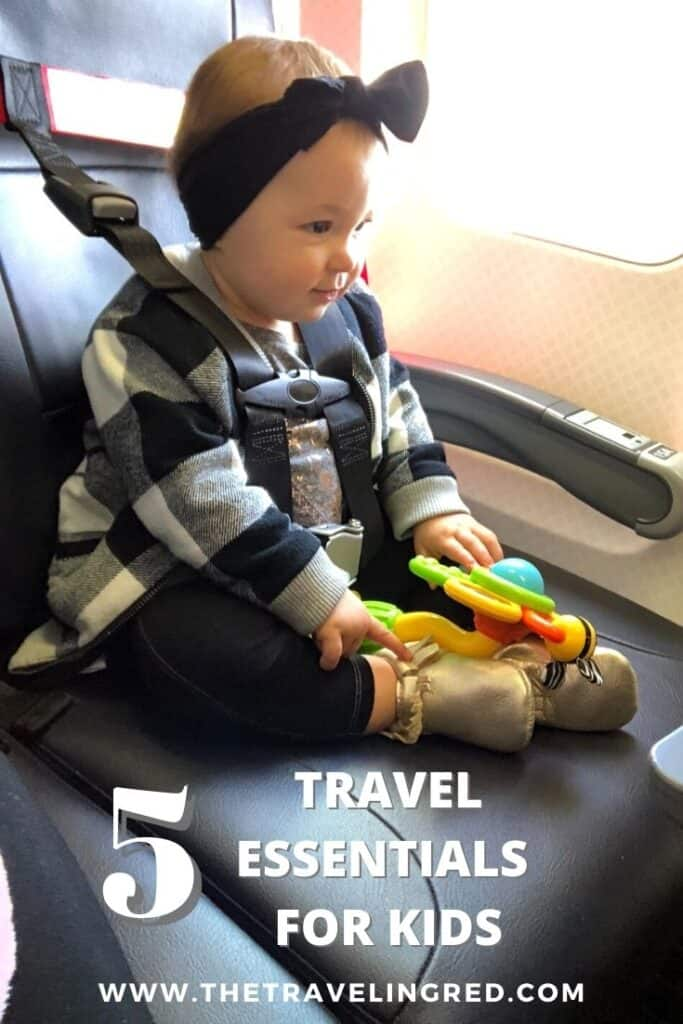 5 Travel Essentials for traveling with a baby or small kid | Airplane harness for safety like a carseat without the extra weight | compact stroller that folds down to fit into the overhead compartment | personalized duffle bag | suction spinner toy for the flight | iPad with a childproof cover and downloaded nursery rhymes