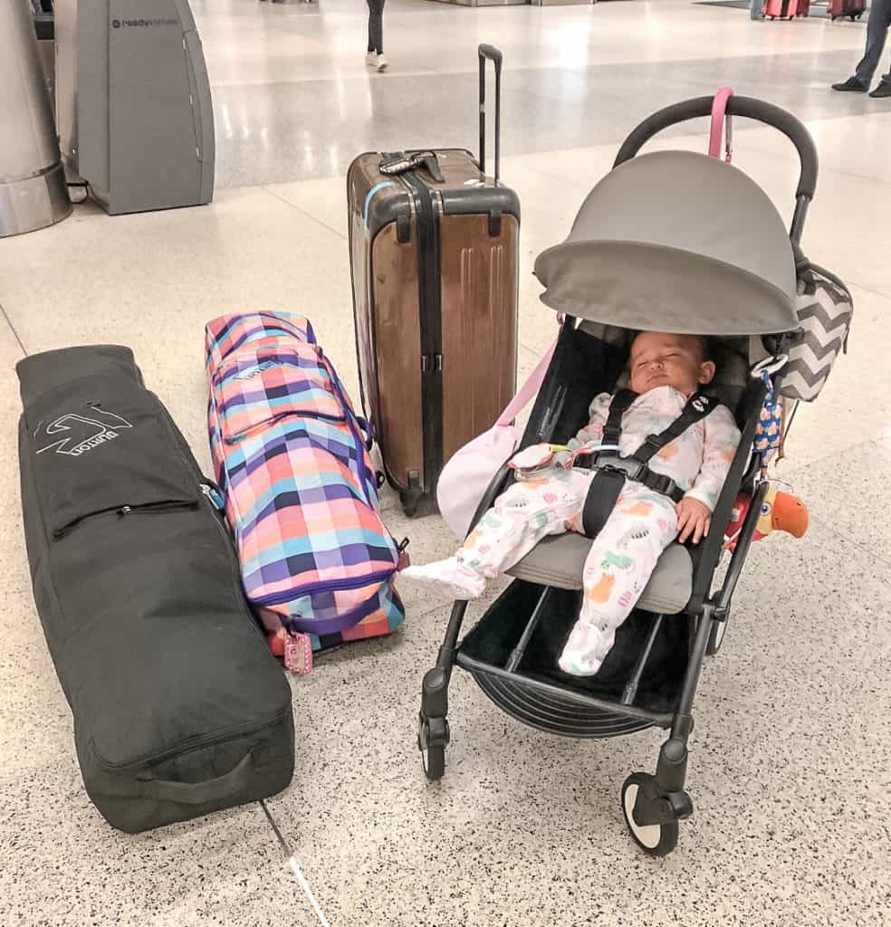 Traveling with a Kid Must Have - a BabyZen YoYo+ Stroller. This stroller folds down small enough to fit in the overhead compartment, so there's no need to check it in. I love this because the airline doesn't mess up my stroller and it's just so easy to use and super lightweight (under 15 lbs).