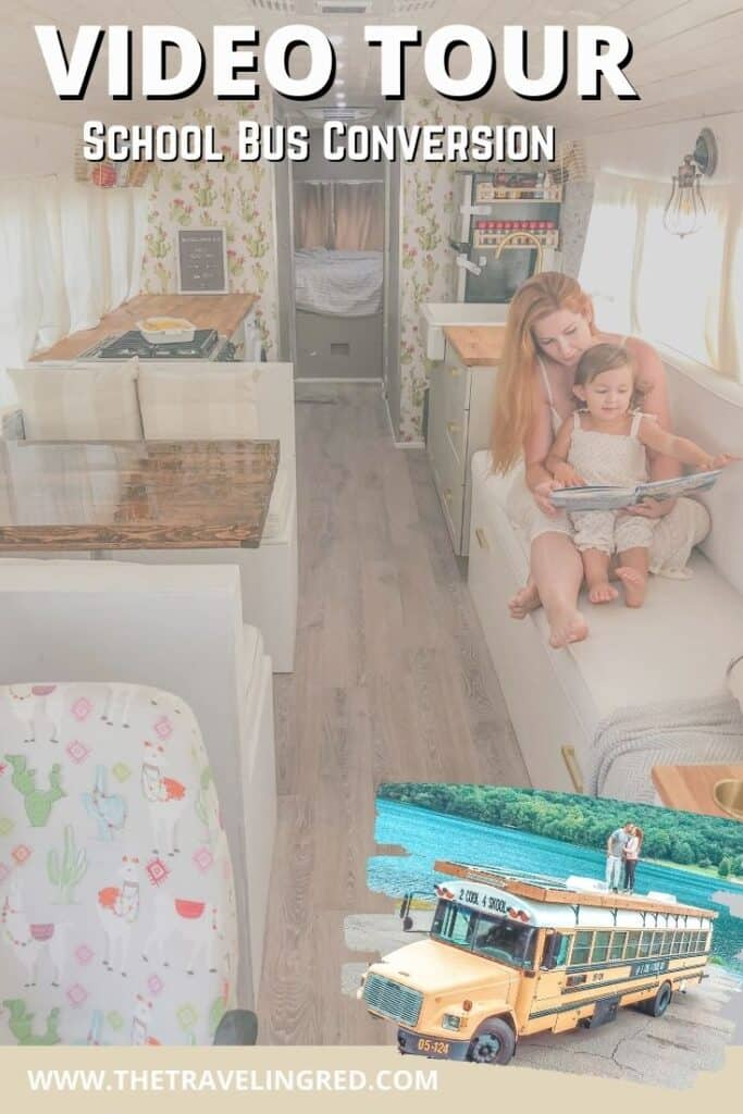 Full Video Tour of our School Bus Conversion | Youtube video of Skoolie, 2 Cool 4 Skool Bus | king bed, full kitchen, washer and dryer, bathtub, captains chairs, wallpaper, farmhouse kitchen, cactus design | RV remodel, update, makeover