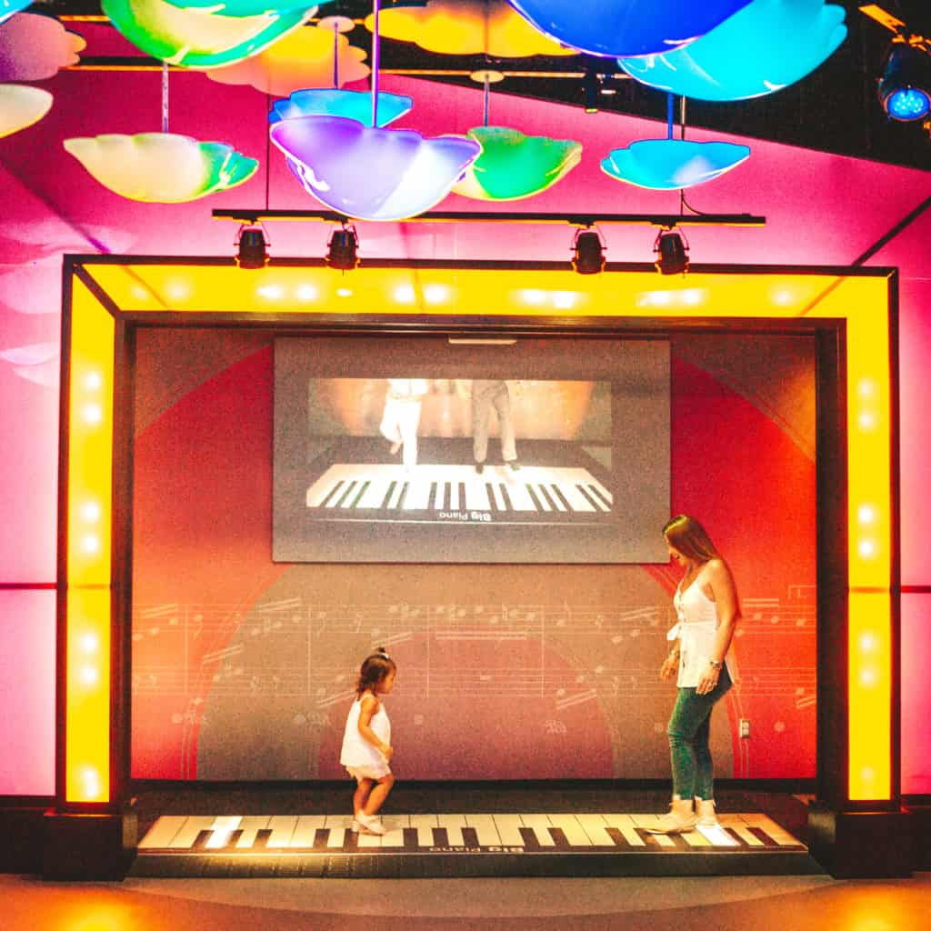 Inside Miami Children's Museum - The Music Makers Studio has a huge piano that you play when you step on it. We spent quite some time running on the keyboard!