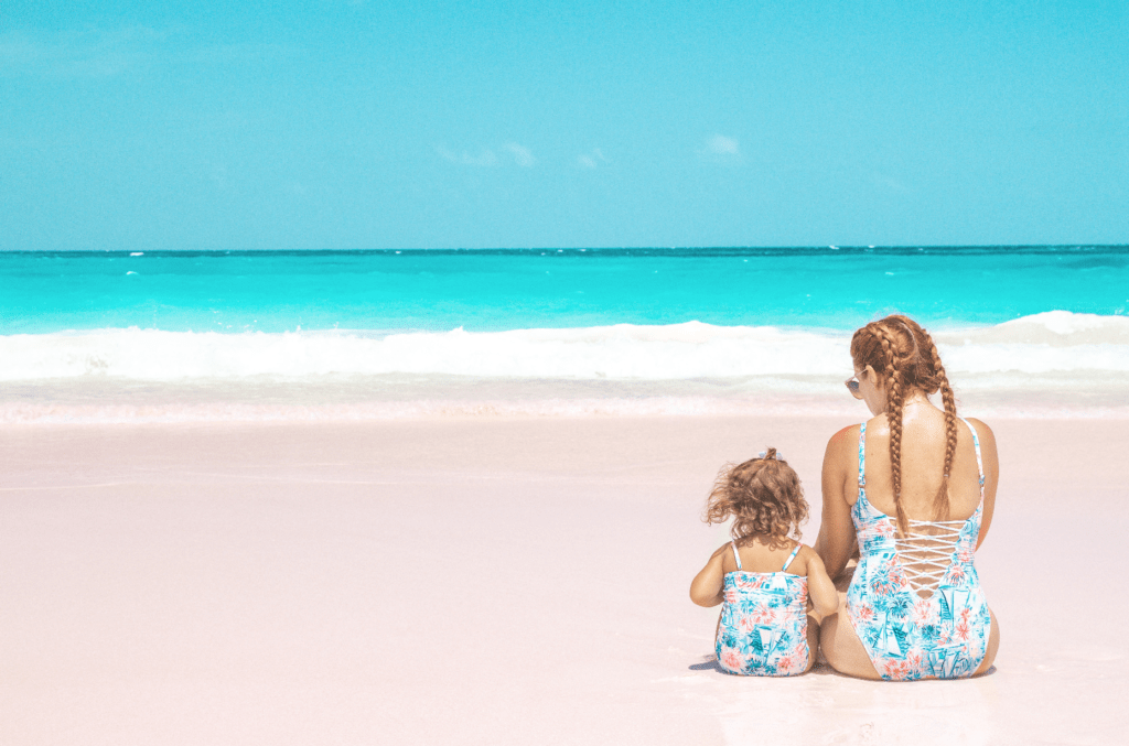 Pink Sands Beach in Harbour Island, Bahamas - matching mother daughter Lilly Pulitzer swimsuits