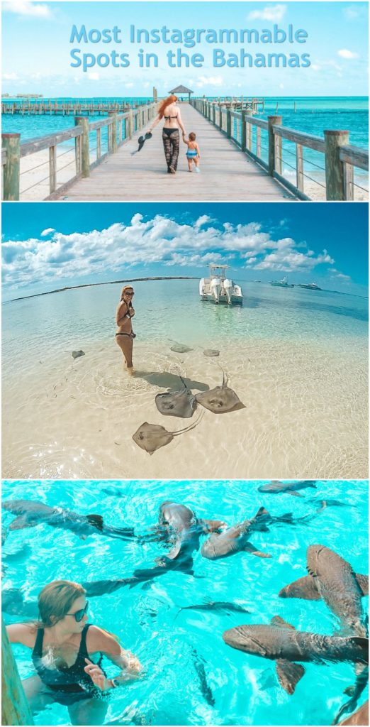 Most Instagrammable Spots in the Bahamas - best of Bimini, Exuma, Harbour Island. Some from Resorts World, Atlantis, BahaMar, Staniel Cay, Compass Cay, swimming pigs, snorkeling in the Exumas, etc