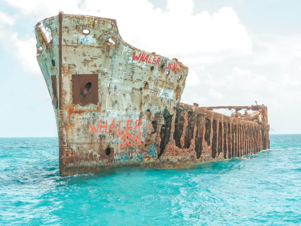 SS Sapona shipwreck near Bimini, the Bahamas - great spot for snorkeling