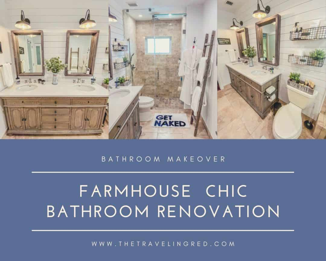 FARMHOUSE CHIC BATHROOM RENOVATION - full bathroom makeover using reclaimed wood and vintage details. by the traveling red