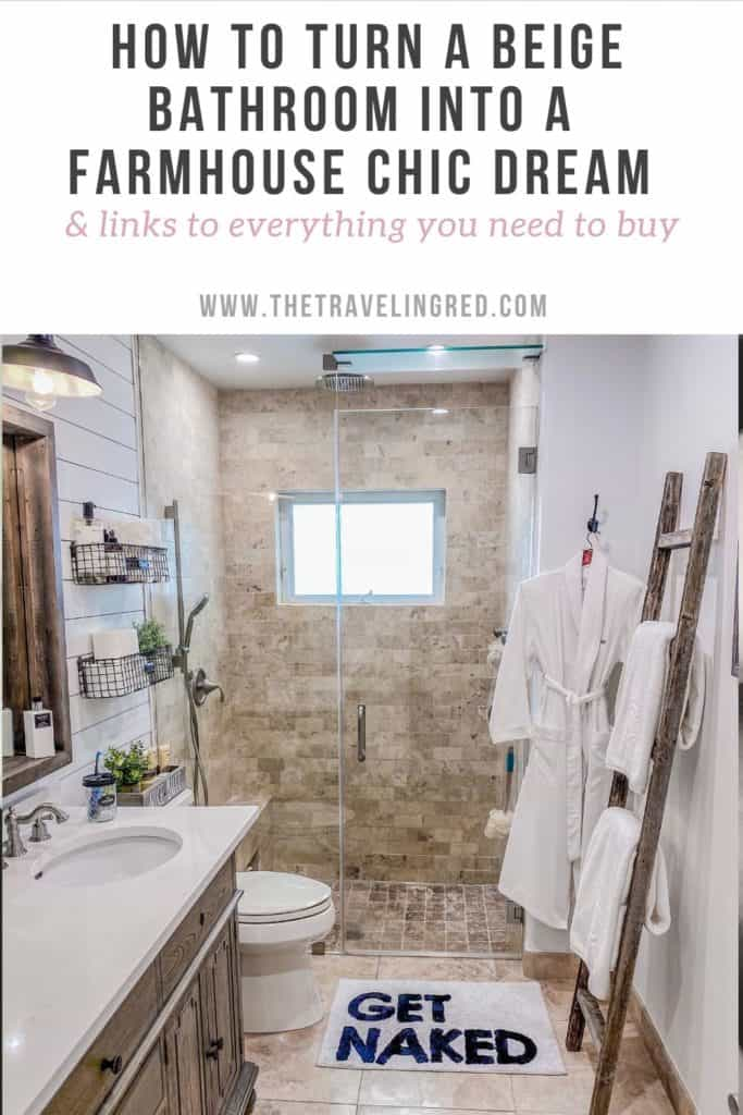 HOW TO TURN A BEIGE BATHROOM INTO A FARMHOUSE CHIC DREAM - MAKEOVER RENOVATION PROCESS AND WHAT TO BUY