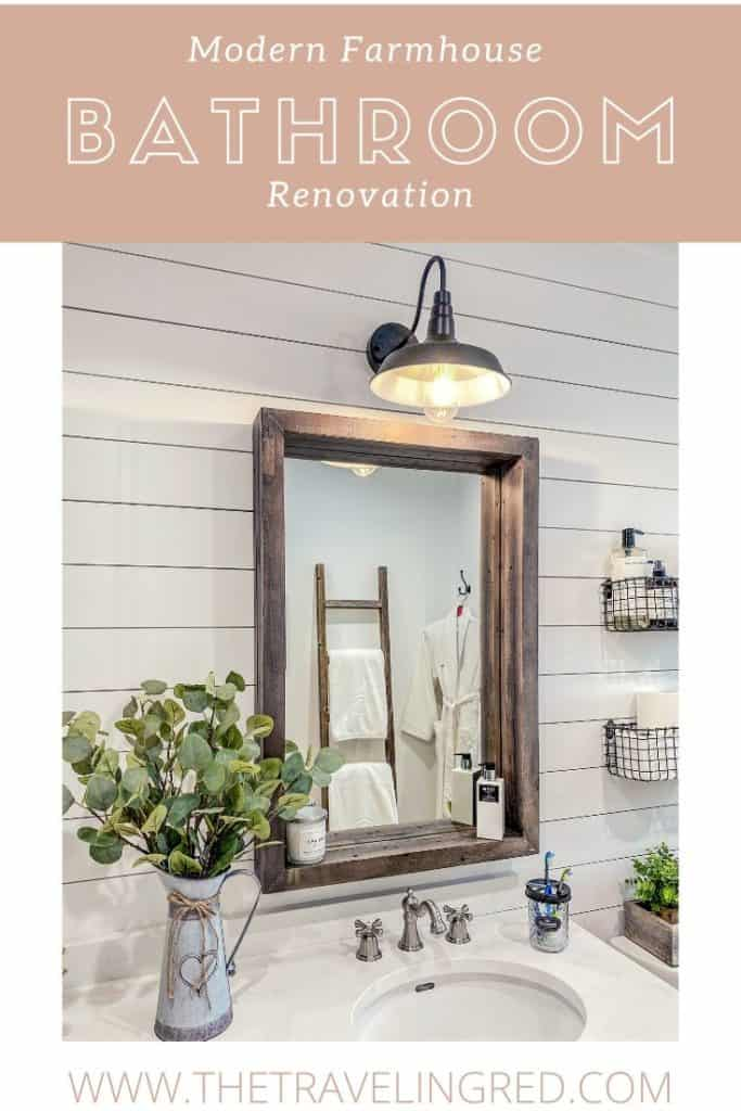 Modern Farmhouse Bathroom Renovation - Update - Shiplap - Eucalyptus, wood mirror, baskets, decor  | Farmhouse Chic Bathroom Makeover | Bathroom Renovation | Update | Remodel | #bathroomremodel #bathroommakeover #bathroomrenovation #farmhouse #farmhousebathroom #bathroomreno #modernfarmhouse