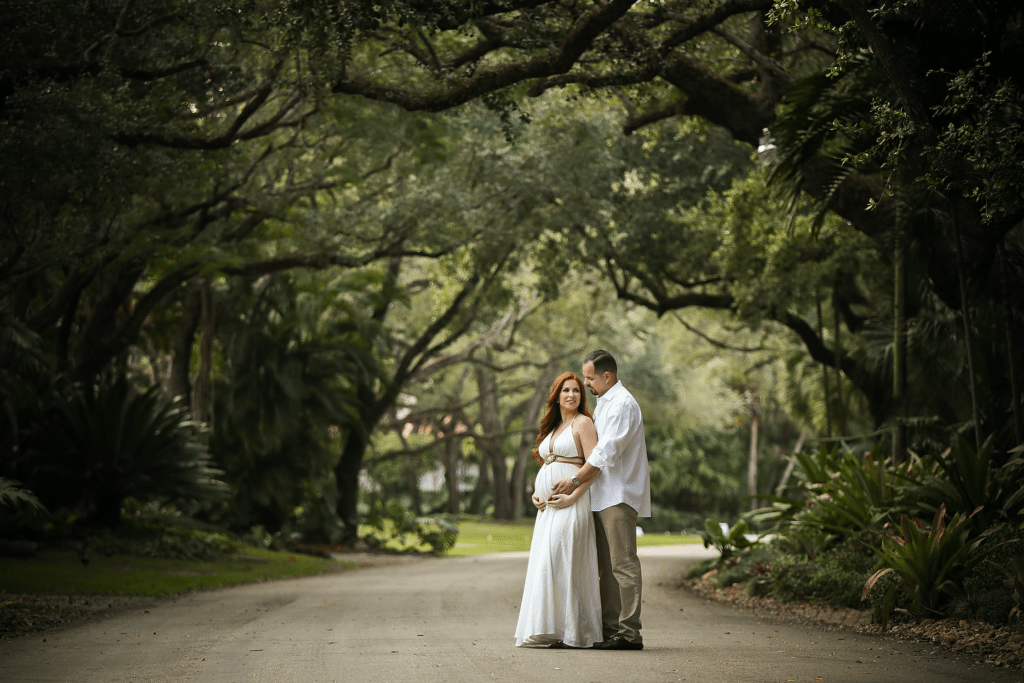 Home Maternity Shoot -  pregnant in a white dress out on the street in front of the house with my hubby - beautiful trees