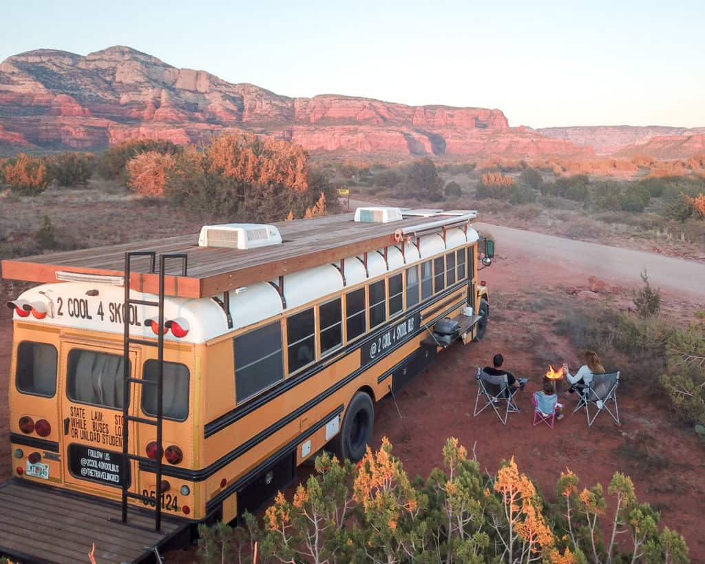 Converted School Bus, 2 Cool 4 Skool Bus. Camping in Arizona, during our 2 month road trip. Converted a yellow school bus into our tiny vacation home on wheels, aka a Skoolie.