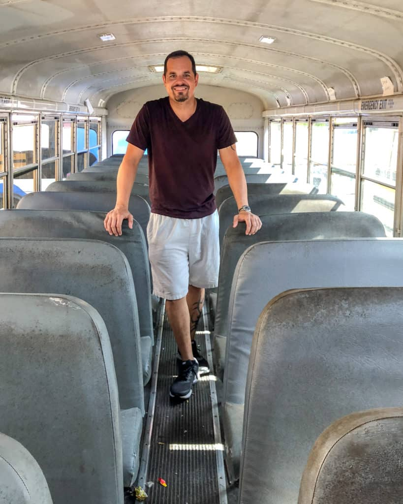 Inside our yellow school bus that would soon be converted to a tiny home on wheels