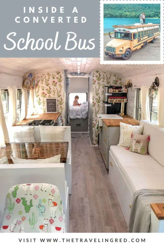Inside a converted yellow school bus. Turned a bus into a vacation home on wheels. This is 2 Cool 4 Skool Bus, the Skoolie.