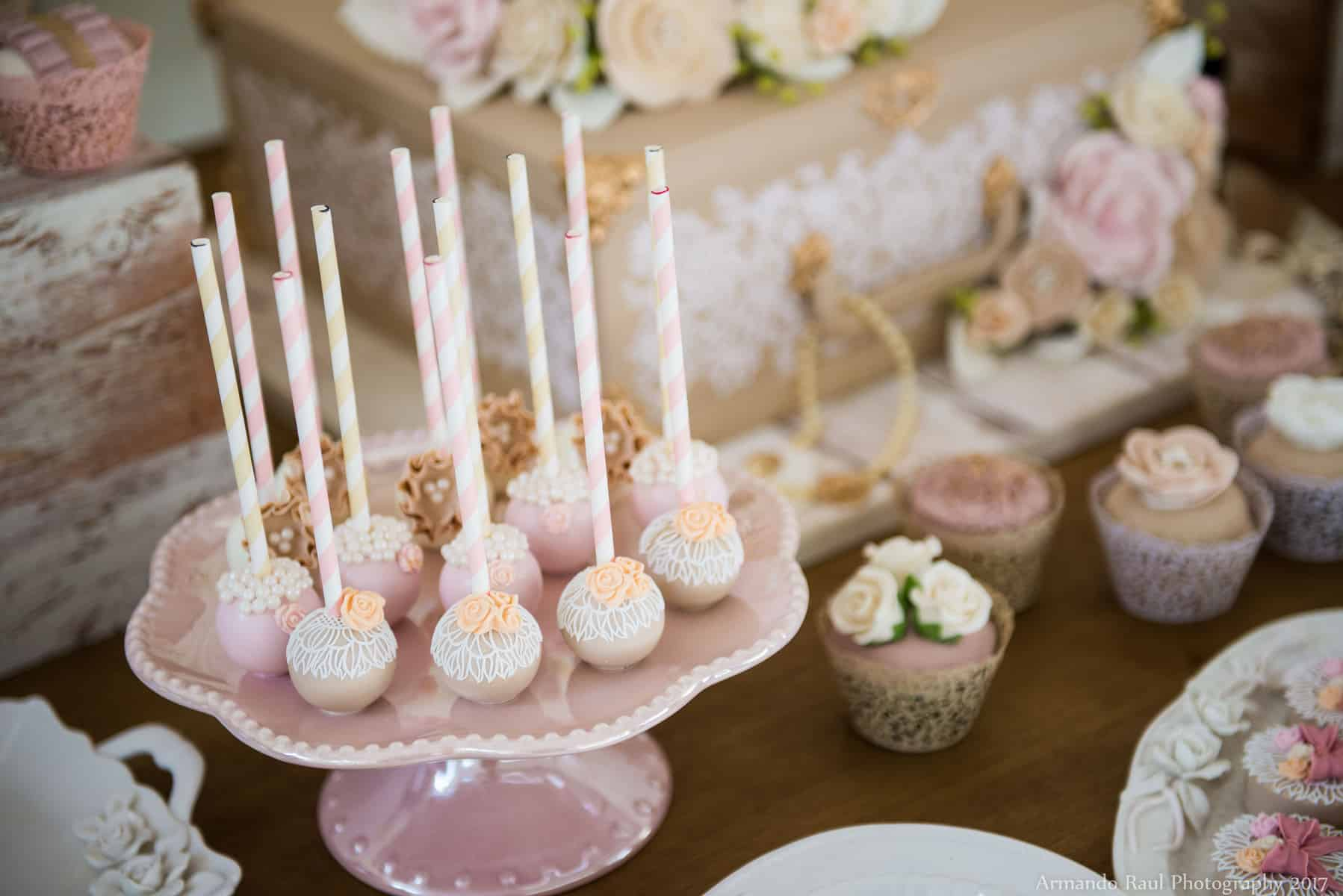 Cake Pops & Cupcakes | Vintage Travel Theme Baby Shower | Baby Girl | You Are My Greatest Adventure | Lace, World Map, Flowers, Cameras, Vintage Decor | Cake, Sweets, Desserts, Lounge Seating Area, World Cuisine, Food Stations, Seating Arrangement | Home Baby Shower | Blush Pink, Beige, Gold, Champagne, White