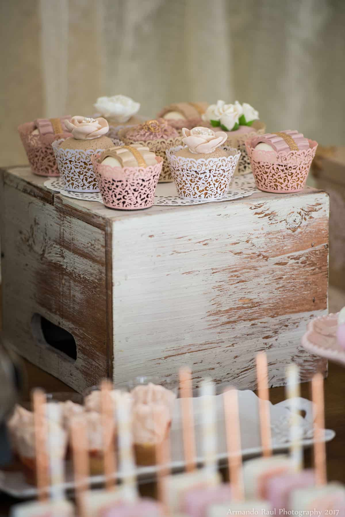 Cupcakes | Vintage Travel Theme Baby Shower | Baby Girl | You Are My Greatest Adventure | Lace, World Map, Flowers, Cameras, Vintage Decor | Cake, Sweets, Desserts, Lounge Seating Area, World Cuisine, Food Stations, Seating Arrangement | Home Baby Shower | Blush Pink, Beige, Gold, Champagne, White