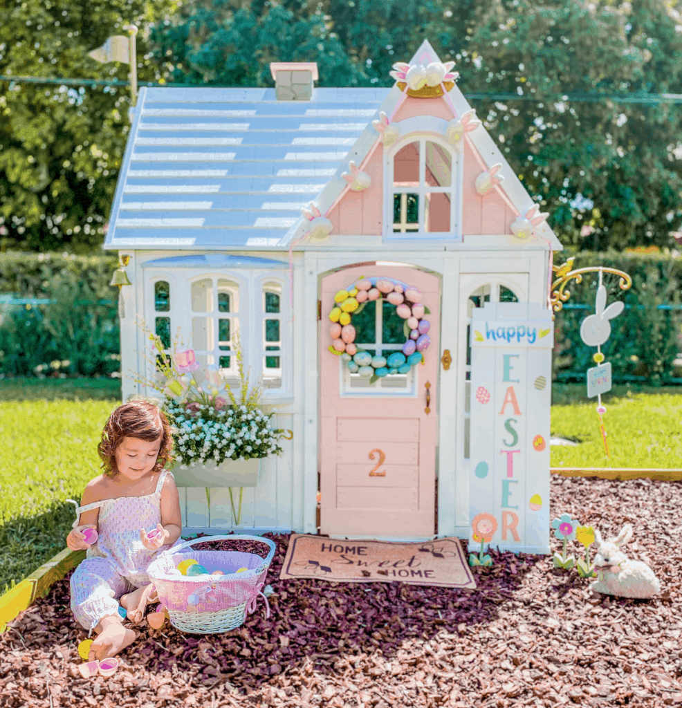 Playhouse DIY Makeover | KidKraft | White & Pink Dollhouse | Remodel | Girly Update | Custom Playhouse | Before & After