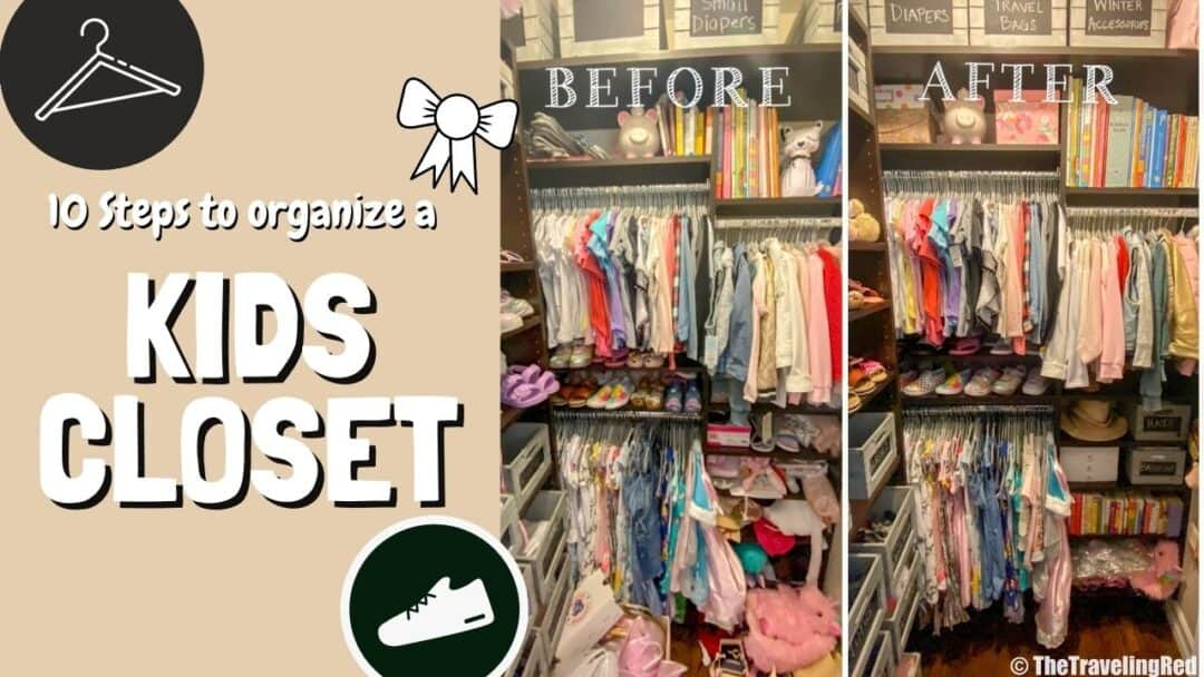 ORGANIZING A KIDS CLOSET IN 10 EASY STEPS | organization | little girl room | clothes, shoes, handbags, accessories, books & toys | organization 101 | color coordinating | storage bins | chalkboard nesting baskets | the home edit | #organization #kidscloset #organizing