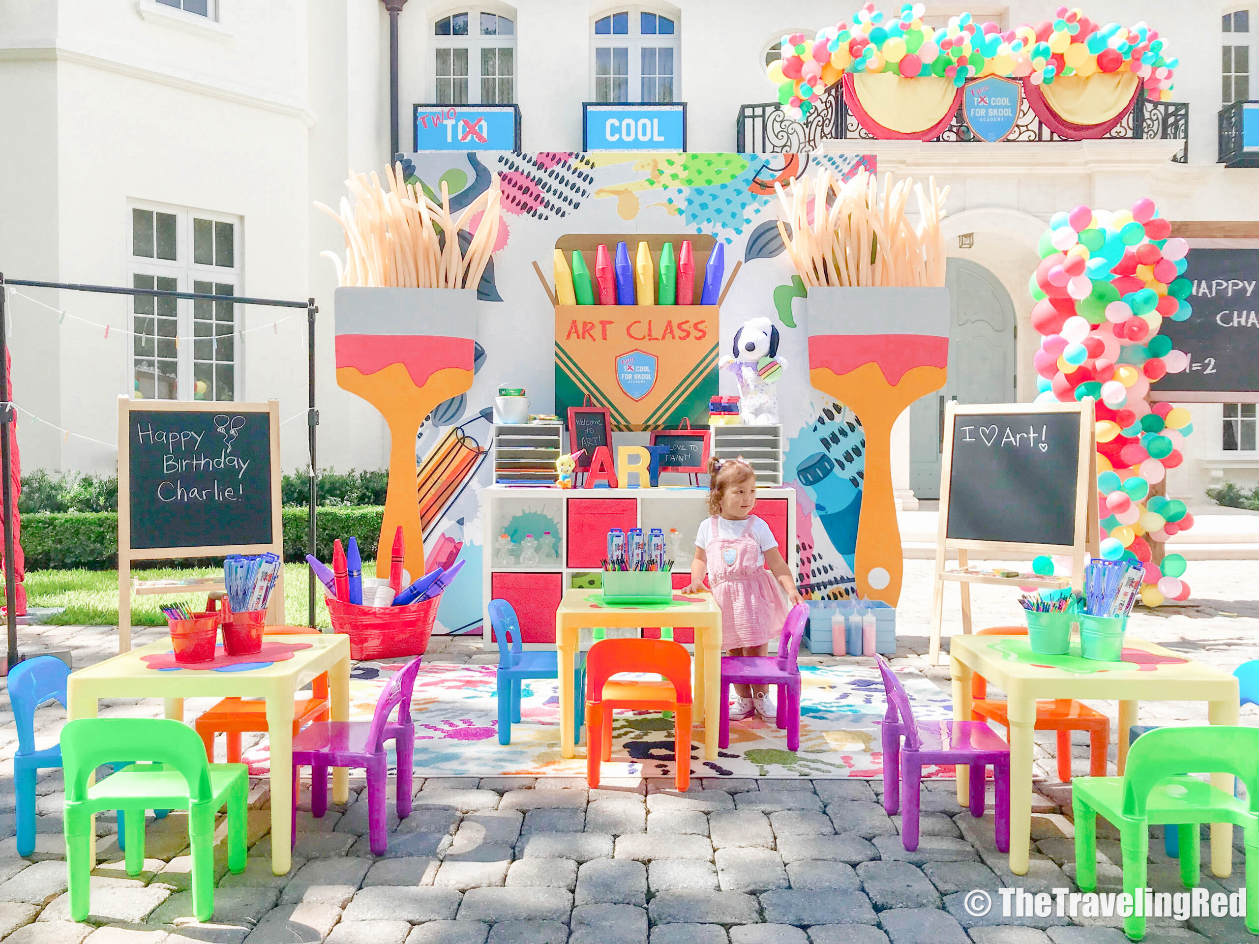 The dreamiest birthday party theme for a little girl - 2 Cool for Skool 2nd birthday party | Birthday Girl | 2nd Birthday | Colorful Theme | Art | Science | Balloons | School Homeschool | Learning Fun #birthdaygirl #birthdayparty #2ndbirthday #schooltheme #homeschool