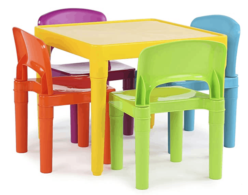 Cutest colorful table and chairs set, perfect for your homeschool classroom. Homeschool Rooms | Homeschool | Homeschooling | Classroom | Preschool | Kindergarten | Make Learning Fun with Games #homeschool #homeschooling #classroom #homeschoolclassroom #homeschoolroom #homeschoolingrooms