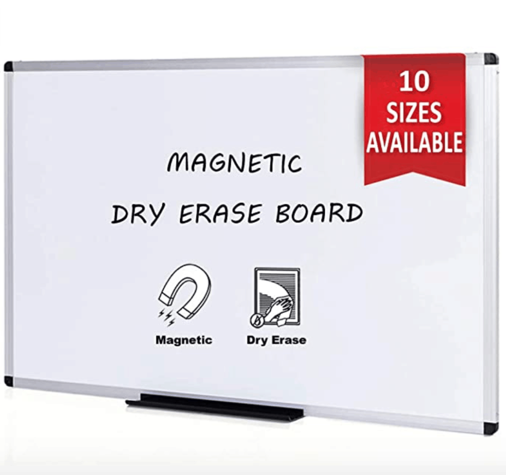 Magnetic dry erase white board that comes in all sizes, perfect for a homeschool classroom. Homeschool Rooms | Homeschool | Homeschooling | Classroom | Preschool | Kindergarten | Make Learning Fun with Games #homeschool #homeschooling #classroom #homeschoolclassroom #homeschoolroom #homeschoolingrooms