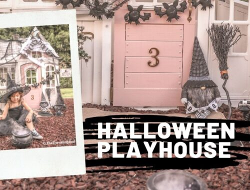 Hocus Pocus Halloween Playhouse - Halloween Decorations to turn a renovated outdoor playhouse into a spooky witches home perfect for playtime during the month of October | added spider webs, bats, witches boots and broomstick, a cauldron and the cutest witch costumes | remodeled DIY pink and white playhouse #playhouse #halloween #witch
