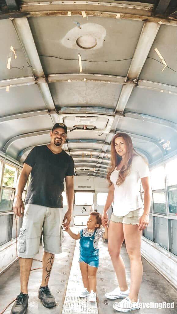 School Bus Conversion, 2 Cool 4 Skool Bus. First family photo inside our bus. Full analysis of the cost of converting a yellow school bus into a vacation home on wheels. All of the details of our skoolie conversion. Our vacation home that took us on a road trip around the US to see some of the countries most beautiful places. #ConversionCost #SchoolBus #Skoolie #SchoolBusConversion