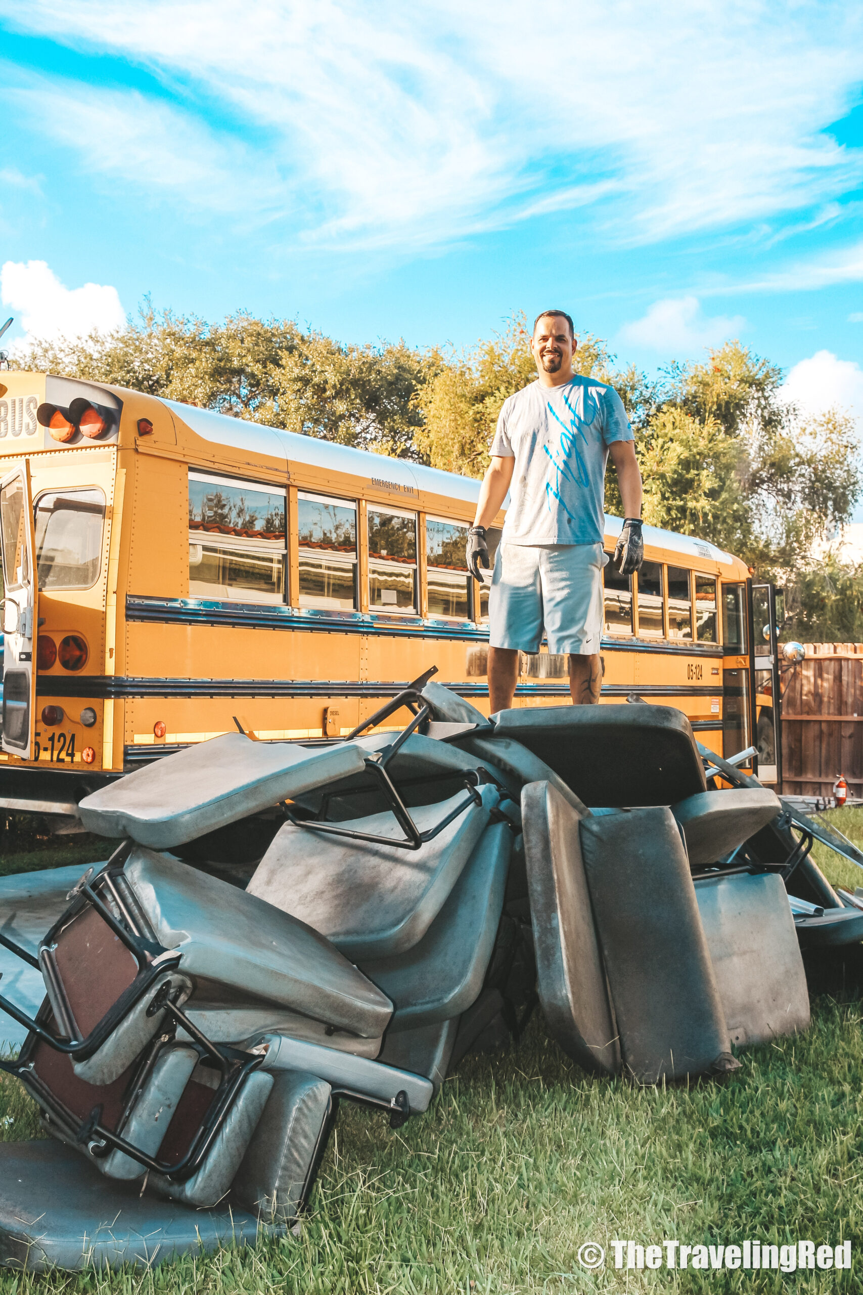 Demolition during our School Bus Conversion, 2 Cool 4 Skool Bus. Full analysis of the cost of converting a yellow school bus into a vacation home on wheels. All of the details of our skoolie conversion. Our vacation home that took us on a road trip around the US to see some of the countries most beautiful places. #ConversionCost #SchoolBus #Skoolie #SchoolBusConversion