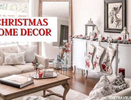 Christmas decorations for a modern farmhouse home. Traditional Christmas decor around the home in mostly red, white and silver. A pink and gold little girls room with her own tree. Festive kitchen shelves, lots of Christmas pillows, stockings, wreaths, and garland. Also lots of small decorations, such as snow globes, candles, Santa nutcrackers, nativity set, gnomes, the grinch etc. #Christmas #ChristmasDecorations #ChristmasDecor #ChristmasTree #Decorating