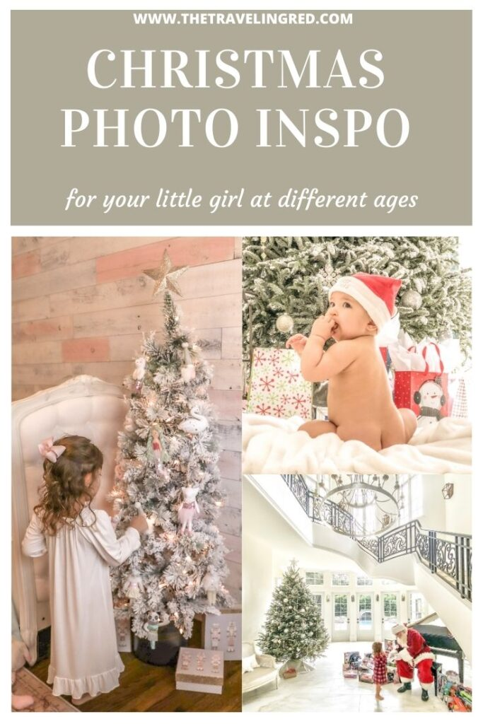 Baby and toddler girl Christmas pictures inspiration at each age. Fun Christmas photos perfect for each age during the holiday time. From baby's first Christmas, to meeting Santa and becoming a big girl with her own christmas tree in her room. #ChristmasPictures #ChristmasInspo #ChristmasBaby #Santa #Babys1stChristmas