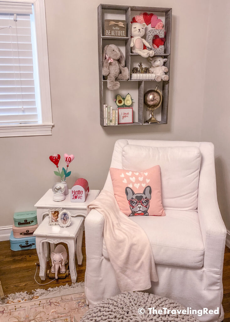 Valentine's Day Home Decor - Kids Room decor for a little girl, using a valentines day dog pillow from target, a mailbox and some fun decor for kids #valentinesdaydecor #homedecor #kidsroomdecor #valentinesdayhomedecor