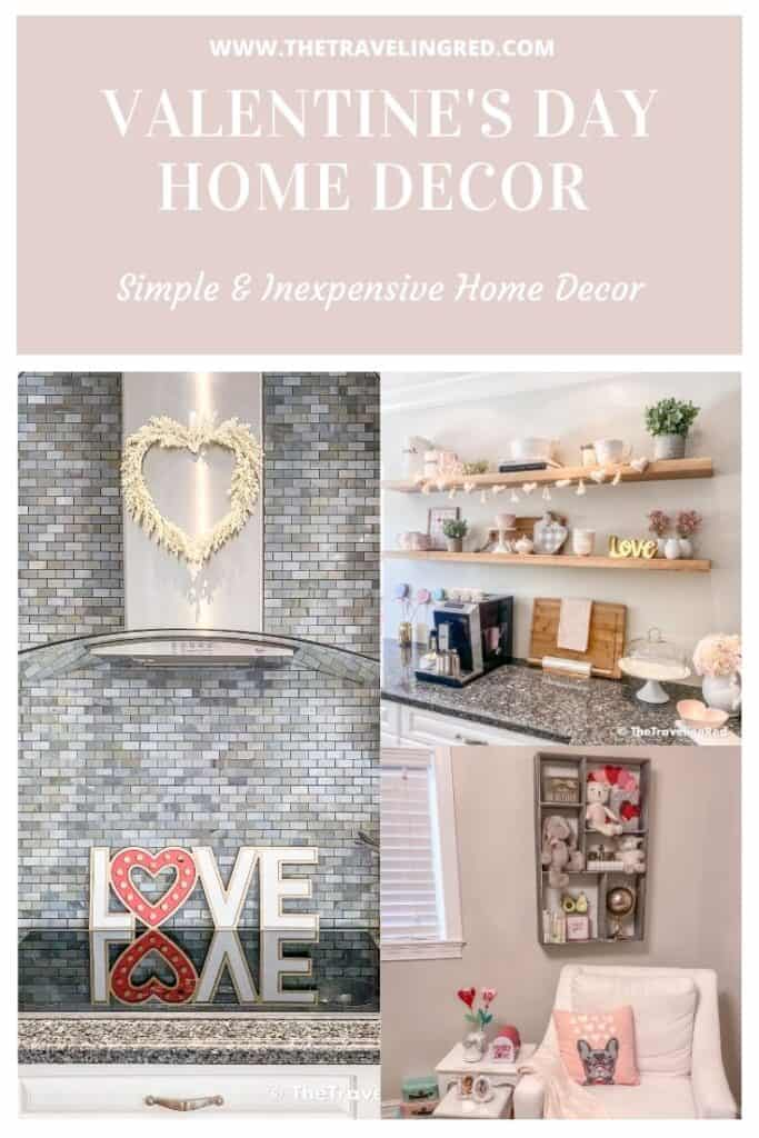 Easy Peasy Valentine's Day Home Decor for your kitchen, kids room, dining table decor, kitchen shelves styling & even a kids outdoor playhouse #valentinesday #valentinesdaydecor #homedecor #tabledecor #valentinesdayhomedecor