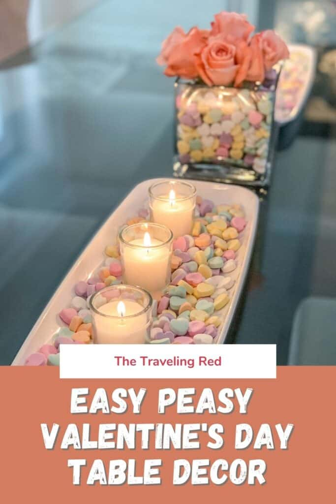 Easy Peasy Valentine's Day Dining Table Decor for your kitchen, kids room, dining table decor, kitchen shelves styling & even a kids outdoor playhouse #valentinesday #valentinesdaydecor #homedecor #tabledecor #valentinesdayhomedecor